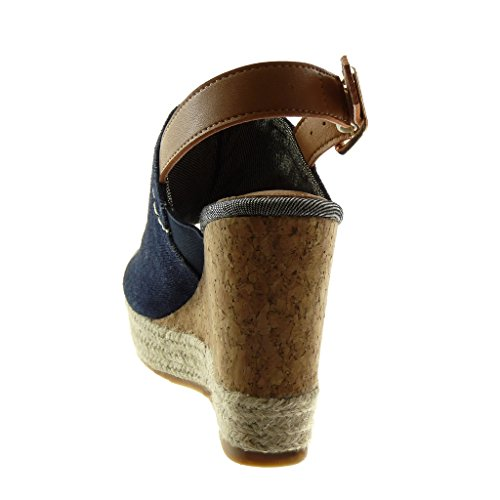 Zapatillas Angkorly Mules Azul 10 Tobillo Corcho De Plataforma 5 Peep Trenzado Mujer Moda Oscuro Cm Sandalias Correa Cuerda toe qqrRSdg