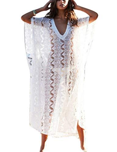 (Bsubseach Women White Sexy Lace Beach Kaftan Dress V Neck Batwing Sleeve Loose Swimsuit Bikini Cover up)