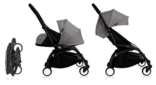 Price comparison product image BabyZen Yoyo+ Stroller Bundle - Black Frame, Grey Fabrics (Yoyo+ Stroller, Canopy, & Newborn Set) by Baby Zen