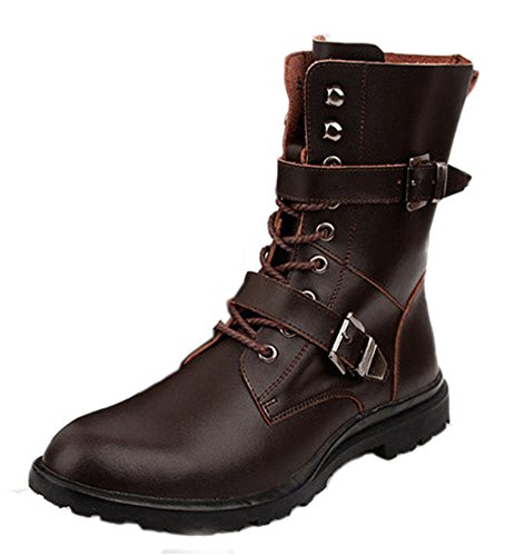 Easemax Homme Rétro Chaussure Montante Bout Rond Bottes Brun 1bVOon