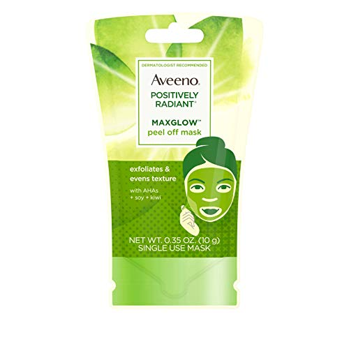 Aveeno Positively Radiant MaxGlow Peel Off Exfoliating Face Mask with Alpha Hydroxy Acids, Soy & Kiwi Complex for Even Tone & Texture, Non-Comedogenic, Paraben- & Phthalate-Free, 0.35 oz