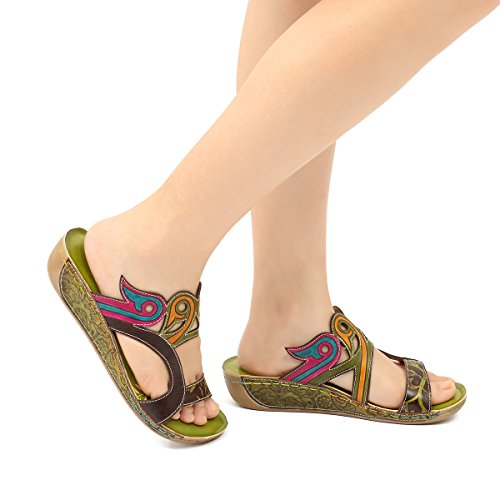 gracosy Sandals for Women Leather Slippers Mule Clogs Shoes Ladies Mid Wedge Heel Slip On Toe Post Summer Mules Sandals Shoes Flower Splicing Casual Sandals Bohemian Beach Shoes Green tg4GXa