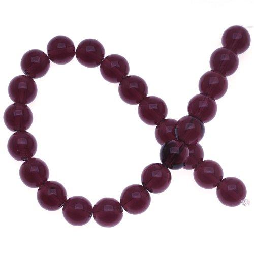 25 8mm Round Beads (Czech Glass Druk 25-Piece Round Beads, 8mm, Dark Amethyst)