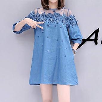 Designeez 1pc Lace Bead Patchwork Summer Women Denim Dress