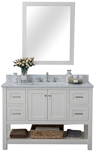 Alya Bath HE-102-48-W-CWMT-M3036 Wilmington Collection Bathroom Vanity Set, Linen White, 2 Piece