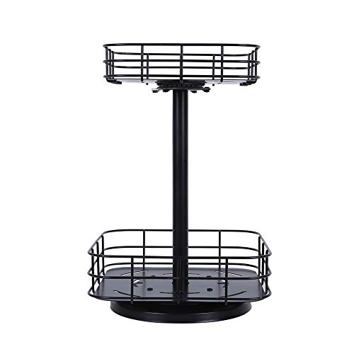 OROPY Collapsible 2 Tier Steel Spice Rack, 360 Degree Turntable Lazy Susan, Multi-Purpose Storage Organizer for Cans Bottles Jars Snacks Black