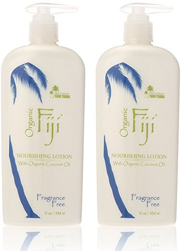 Organic Fiji Fragrance Free Coconut Oil Lotion (Pack of 2) with Certified Organic Coconut Oil, Apricot Kernel Oil, Avocado Oil, Sunflower Seed Oil and Sweet Almond Oil, 12 oz