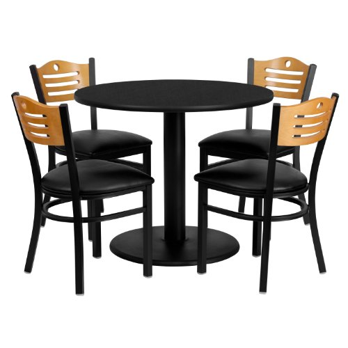 Flash Furniture 36'' Round Black Laminate Table Set with 4 Wood Slat Back Metal Chairs - Black Vinyl - Black Desk Laminate
