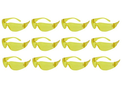 ABN Safety Glasses - Yellow Shade Lens, UV Protective, ANSI standard, Pack of 12