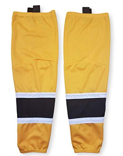 zechy Hockey Socks - pro-Style, mesh, Dry fit ice Hockey Socks - Senior, Junior Sizes (2 Gold w/Black & White, Junior M (24