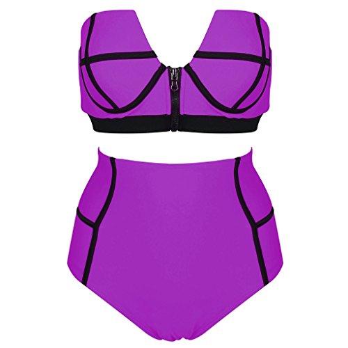 Bikini, Abary High Waisted Zipper Push Up Set Bandeau 2 Piece Swimsuits by Abary