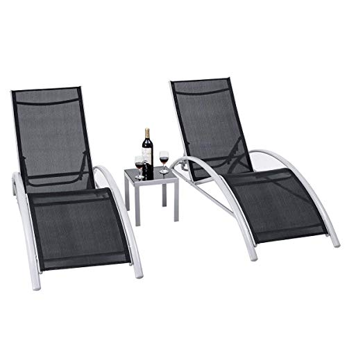 Giantex 3-Piece Chaise Lounge Set W/ 1 Small Table 2 Chairs Outdoor Iron Patio Garden Furniture Adjustable Back Pool Chaise Lounge Chairs