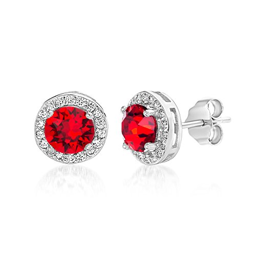 Devin Rose Sterling Silver Round Halo Stud Earrings for Women made With Swarovski Crystals (Ruby Crystal Imitation January - Ruby Red Stone