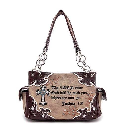 Cowgirl Trendy Cross and Bible Verse Western Purse with Concealed Carry Pocket, - Cowgirl Cross