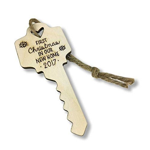 Ornament Key (First Christmas in Our New Home Wood Christmas Ornament 2017 with Twine)