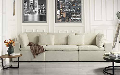 (Large Classic Living Room Linen Fabric Sofa, 111.8