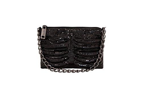 (Whiting & Davis Metal Mesh Shirred Little bag, Black, One Size )