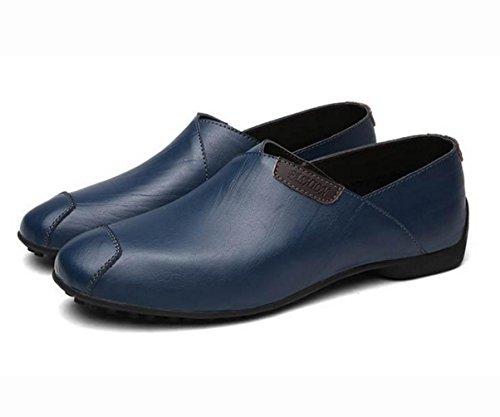 estilo británico ocasionales de los zapatos de cuero de los zapatos de los guisantes de los nuevos hombres fijado tendencia de la moda pie de mocasines de personalidad de los hombres Blue