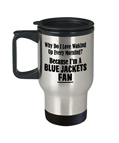Blue Jackets Fan Travel Mug - Love Waking Up Every Morning - Hockey Team Sports Gift - 14oz Stainless Steel Tumbler with Handle - Great for Gameday Hot Cold Drinks ()