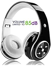 Kabellose Bluetooth Faltbare Kopfhörer für Kinder Jugendliche Leicht tragbare Headset mit Mikrofon Sportkopfhörer Hi-Fi Audio Lautstärkebeschänkung Over Ear Stereo Bügelkopfhörer, Schwarz