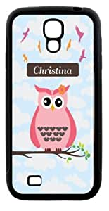 "Rikki KnightTM ""Christina\"" Name - Cute Pink Owl on Branch with Personalized Name Design Samsung\xae Galaxy S4 Case Cover (White Hard Rubber TPU with Bumper Protection) for Samsung Galaxy S4"