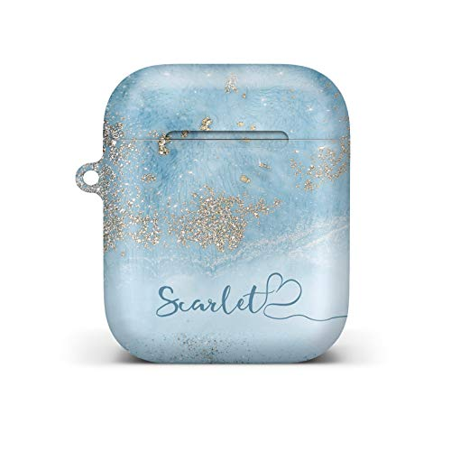 iCaseDesigner Personalised Marble Glitter Flowing Name with Heart Case for Apple AirPods – 18. Light Blue Marble with…