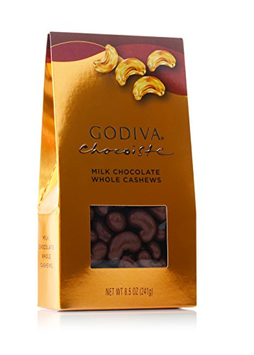 Godiva Chocolatier Milk Chocolate Whole Cashews, Great for Holiday Gift, Chocolate Snacks, Chocolate Treats, Chocolate Nuts, 8.5 oz bag