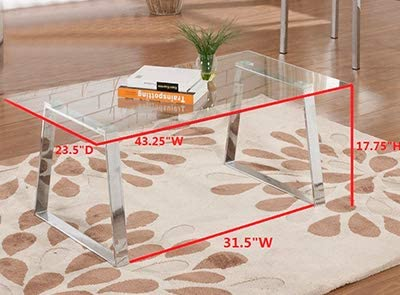 King s Brand Modern Design Chrome Finish with Glass Top Cocktail Coffee Table