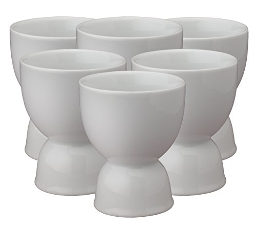 HIC Double Egg Cups, Fine Porcelain, White, Set of 6 (Porcelain Egg Cup)