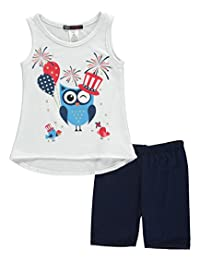 """Miss Majesty Little Girls' """"Patriotic Owl"""" 2-Piece Outfit"""