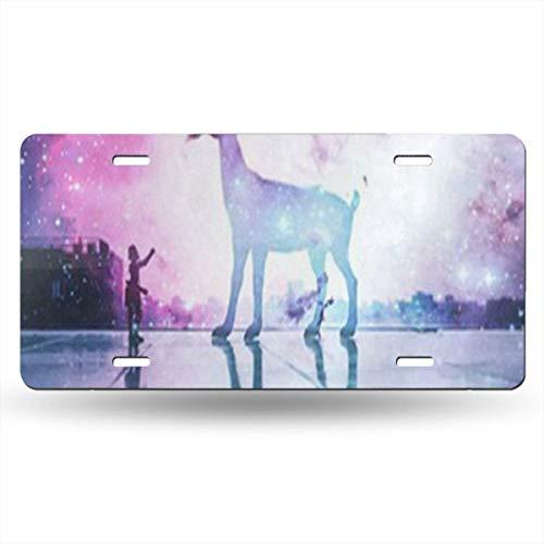DERTYV License Plate Frame Custom Deer Purple Nebula Galaxy Metal Signs Car Cover Set Hot for Car - Jose San Sharks Bed Set