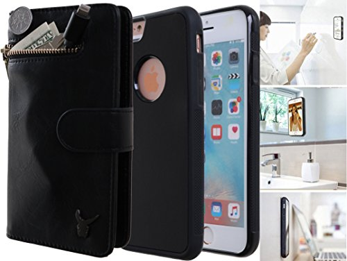 b573236f3e2d iPhone 6s Plus Anti-Gravity Wallet Case, Luxury [Dual Wallet] Cow Leather  [Card & Coin Slot] [Stick on Wall] Detachable Coin Wallet Flip Case Cover  ...