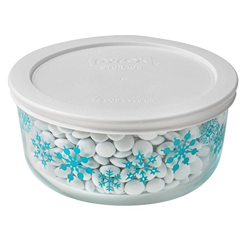 Pyrex Storage Plus 4 Cup Blue Snowflake Holiday Blue Dish w/ White Lid