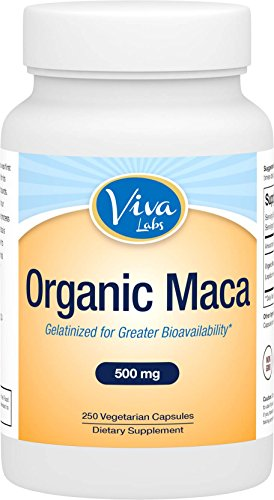 Racine de Maca organique de Viva Labs, 500mg, 250 Capsules végé, gélatinisée à la biodisponibilité accrue