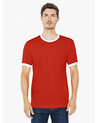 American Apparel 2410W Unisex Fine Jersey Ringer T-Shirt Red/White M