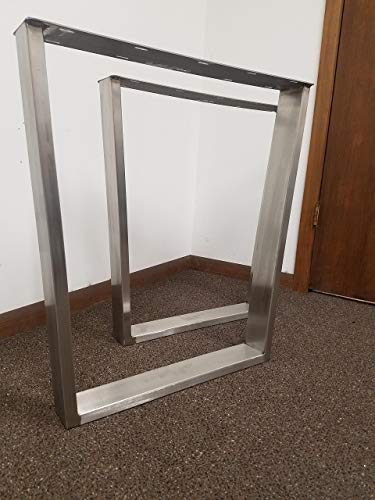 Brushed Stainless Table Legs, Rectangular Tapered Style - Any Size