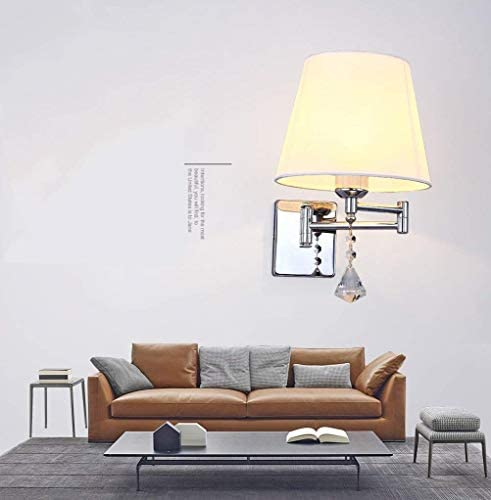 L.J.JZDY Wall Lamp Bedside Lamp Simple Modern Style Living Room Wall Lamp Fabric Wall Lamp - Pure White