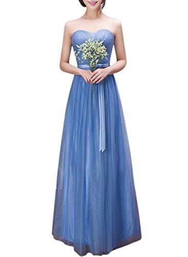 Azbro Women's Sweetheart Strapless Maxi Prom Evening Bridesmaid Dress, Blue XL