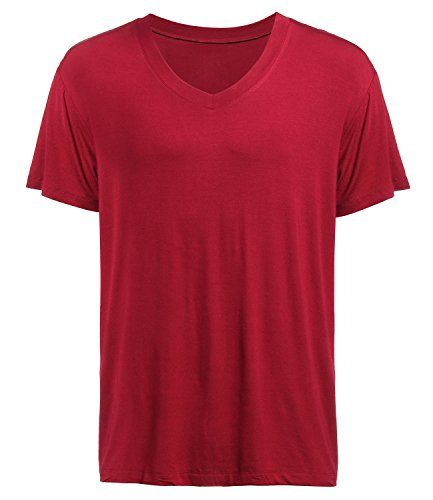 Latuza Men's V-neck Elastic T-Shirt M Wine Red