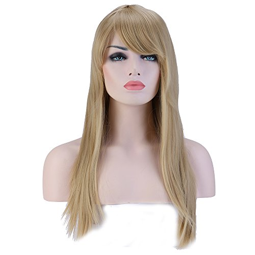 Heat Resistant Synthetic Wig 9 Colors Full Wig with Bangs Long Straight 23'' / 58cm + Stretchable Elastic Wig Net for Women Girls Lady Fashion and Beauty(Ash Blonde) -