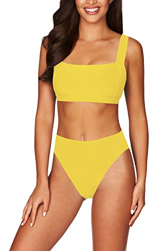 Viottiset Women's Square Neck Wide Straps High Waist Ribbed Bikini Bathing Suit S Neon Yellow