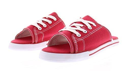 385 Femte Kvinna Ess Canvas Slip På Sneakers Glider Sandal Flip Flops Öppen Tå Platt Spets Upp Tennisskor Röd