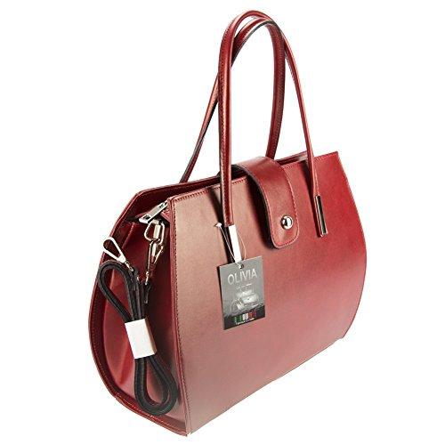 Sac MILANO Rouge cm à Cuir cuir femme main mode Sac Noir 35x27x14 Olivia XwdO7qxq