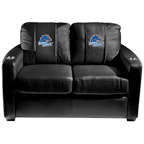 XZipit College Silver Loveseat with Boise State Broncos Logo Panel, Black