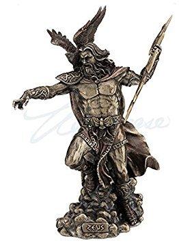 Zeus Greek God Holding Thunderbolt Statue with Eagle ()