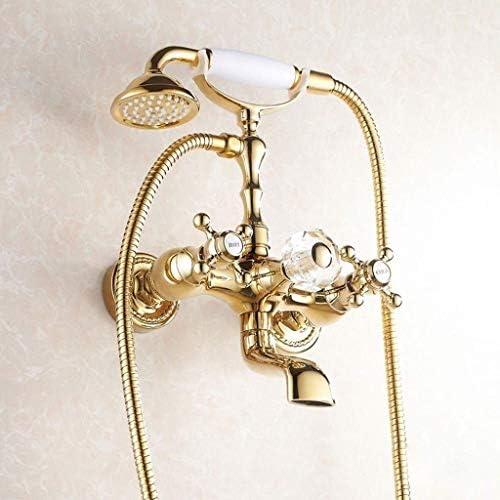 デラックスギルトクリスタルダブル浴槽の蛇口シャワーセット、真鍮、シャワーウォールマウント、バスルームの蛇口、バスタブミキサー