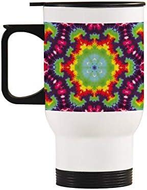 Geen gemerkte eenvoudige thermoreisbeker verwarmde autobeker met handvat afneembare koffiebekerperfect voor thuis kantoor school buitenwerk4252 gkleurrijke TieDye Magic Art