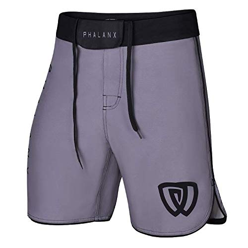 (Phalanx Worlds Mens Ultralight Fight Shorts for BJJ MMA, Antimicrobial Competition Grade Jiu Jitsu Gear for Men, Brazilian Jujitsu Clothing Gi or No Gi, for Boxing Wrestling Crossfit, Gry/Blk - 34