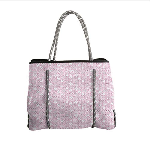 iPrint Neoprene Multipurpose Beach Bag Tote Bags,Baby,Newborn Girl Clothes with Checkered Background Hearts Stars Flowers Dresses and Hats Decorative,Pink White,Women Casual Handbag Tote Bags