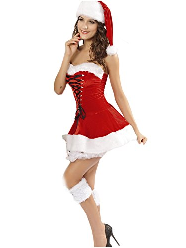 NuoReel Women's Velvet Christmas Corset Set(pack of 3) One Size Red